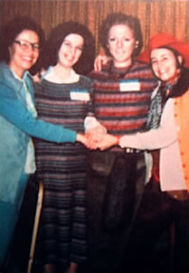 Four early feminist art historians at a national College Art Association convention:  Eleanor Tufts, Ann Sutherland Harris, Linda Nochlin, and AC